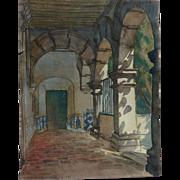 Quality watercolor painting of historic 17th century Churubusco Monastery near Mexico City