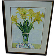Contemporary signed oil on paper painting of daffodils in a vase