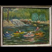 American impressionist art painting of boating on the lake signed LOUISE RICHARDSON DODD