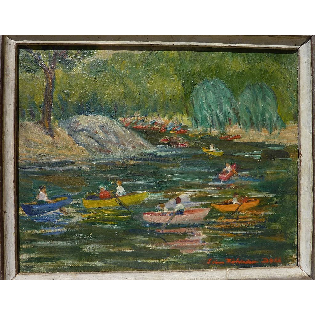 American impressionist art painting of boating on the lake signed LOUISE RICHARDSON DODD