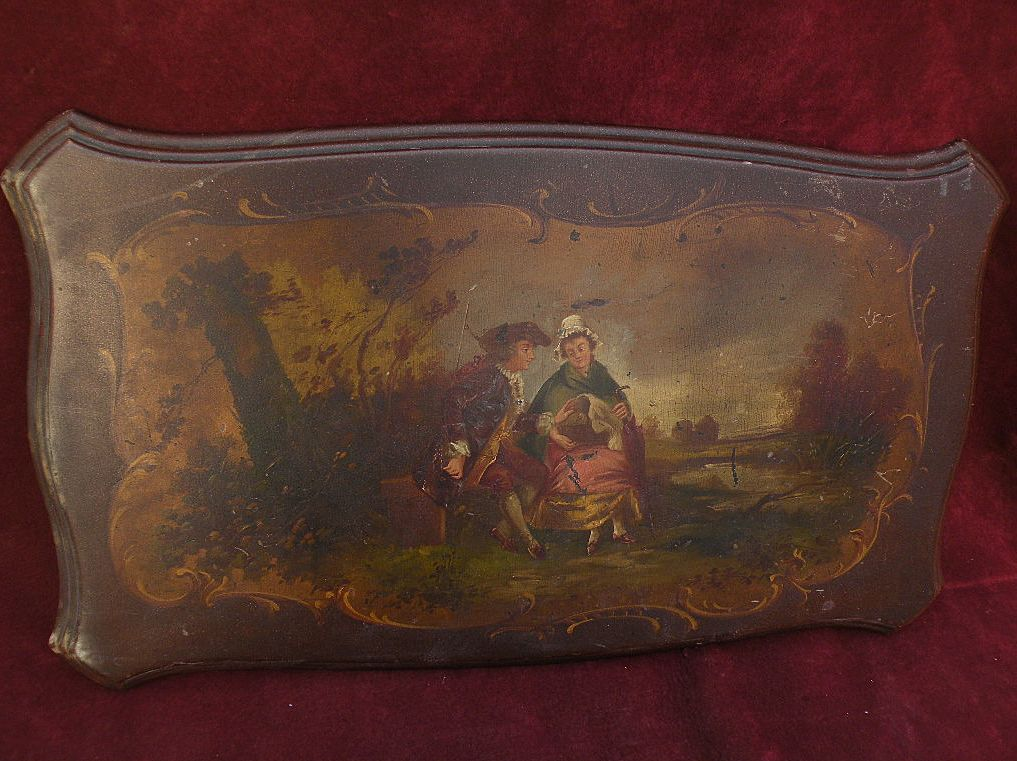 Nineteenth century French painting in old master style on wood tabletop