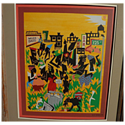 African-American art signed modernist 1992 painting of Harlem New York themes