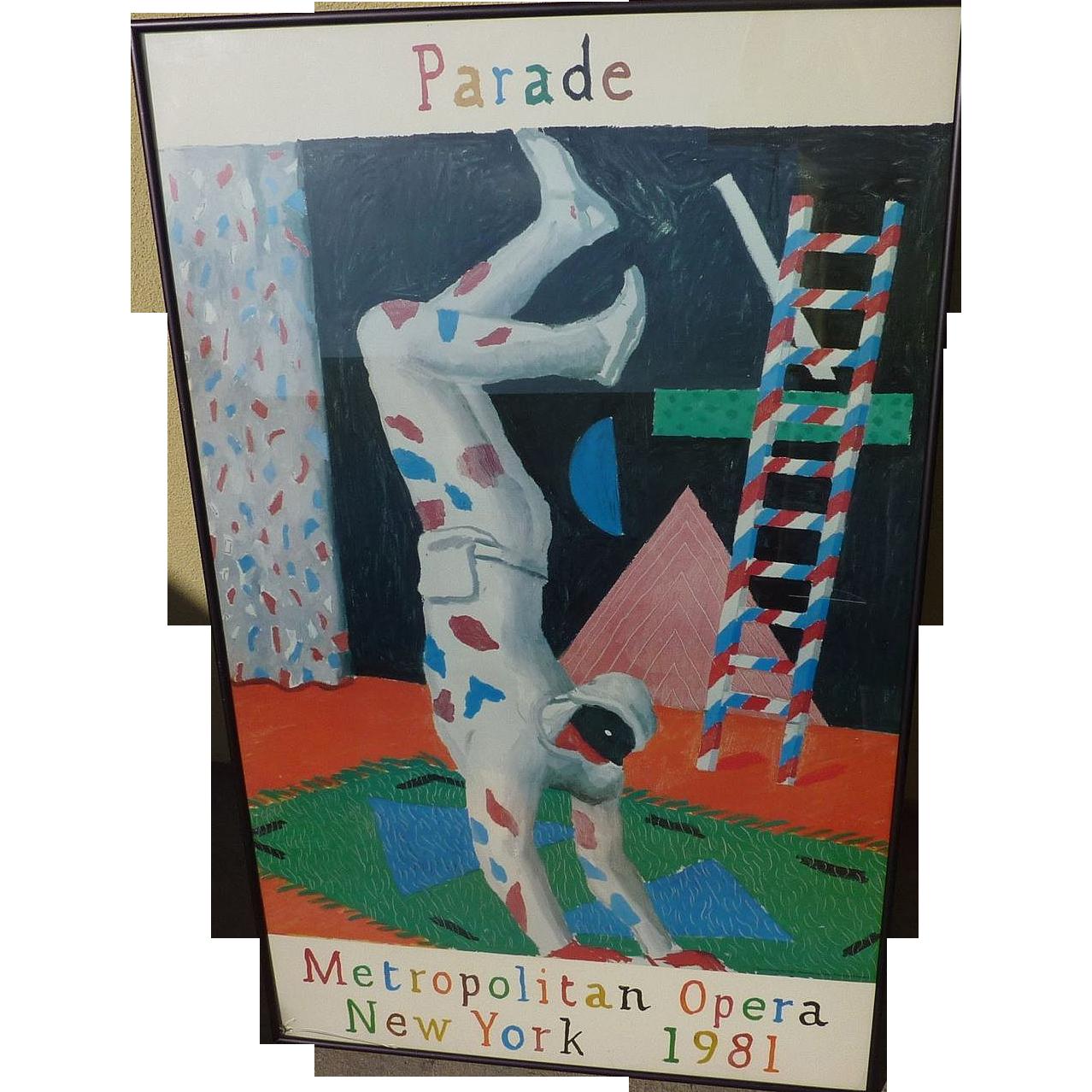 "DAVID HOCKNEY (1937-) original offset 1981 lithograph poster ""Harlequin for Parade"" for Metropolitan Opera"