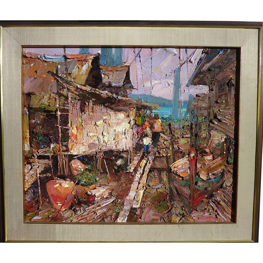 "SUJARIT HIRANKUL (1936-1982) large impressionist painting ""Fishing Village"" by major Thai 20th century artist"