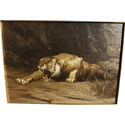 SOZAYEMON NISHIMURA fine Japanese silk embroidery picture of a tiger in excellent condition