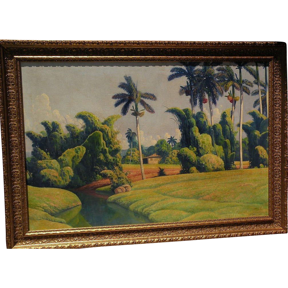 Signed contemporary tropical landscape painting in style of Cuban artist Domingo Ramos