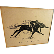Circa 1935 ink drawing of racing horse