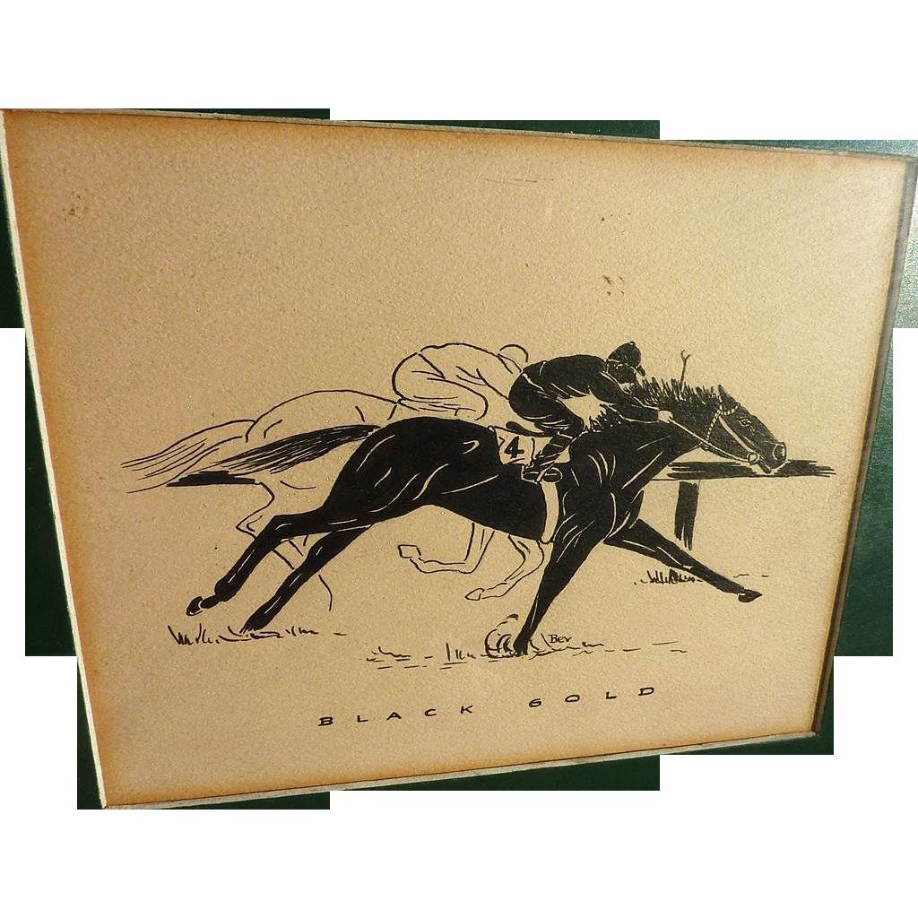 Circa 1935 ink drawing of racing horse