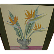 Watercolor and gouache still life painting of bird of paradise