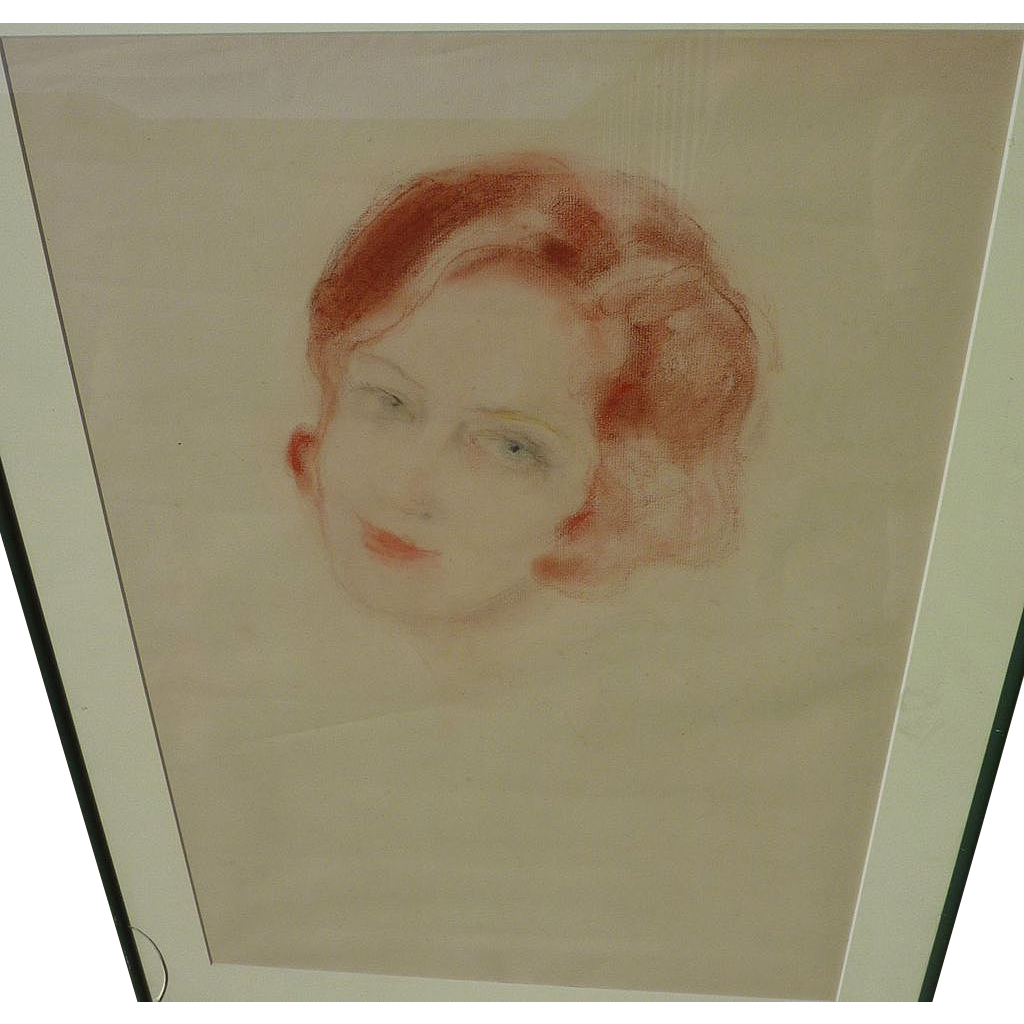 Vintage pastel drawing of red-headed young woman