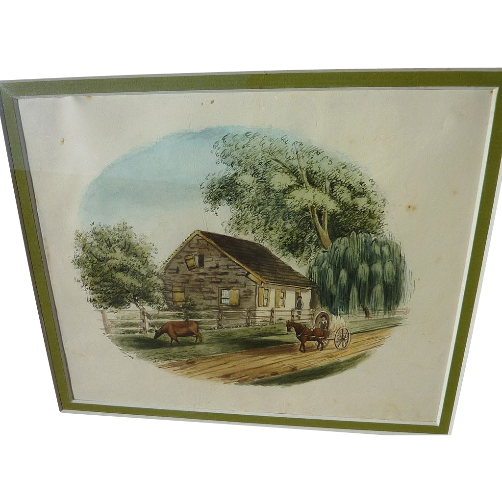 1830's American watercolor and ink drawing of rural homestead scene