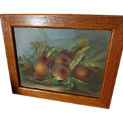 Framed impressionist pastel drawing of freshly picked peaches