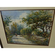Antique American watercolor landscape painting signed