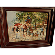 Contemporary impressionist oil painting of Paris scene circa 1900