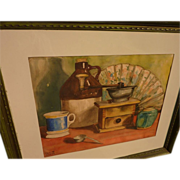 Mid century California watercolor still life painting signed Pauline Goode
