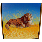 RICHARD LUNEY contemporary American artist finely detailed painting of a tiger