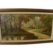 Mid-century European autumn landscape painting signed
