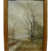 Small late nineteenth century English landscape painting signed with initials