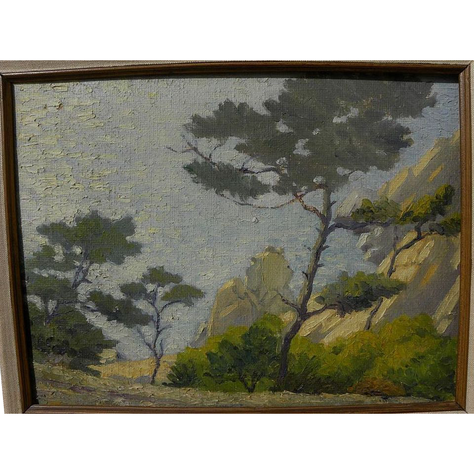 California plein air impressionist luminous painting trees at the coast