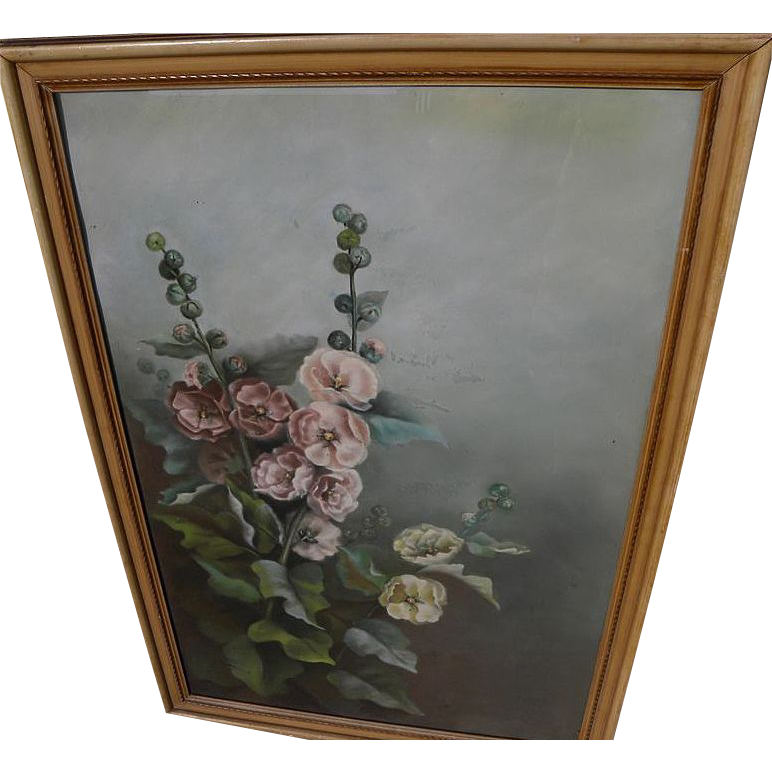 Early 20th century American pastel drawing of hollyhocks
