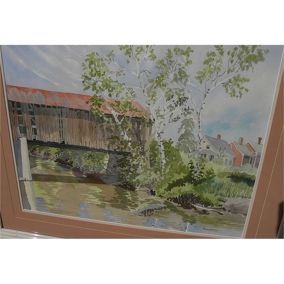 American contemporary impressionist watercolor painting of Vermont covered bridge by artist Anne Mellor