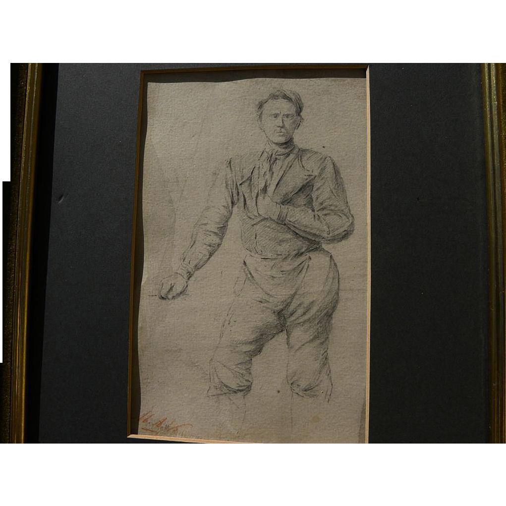 MARINUS ADRIANUS KOEKKOEK (1807-1870) pencil study of a man by noted Dutch landscape artist