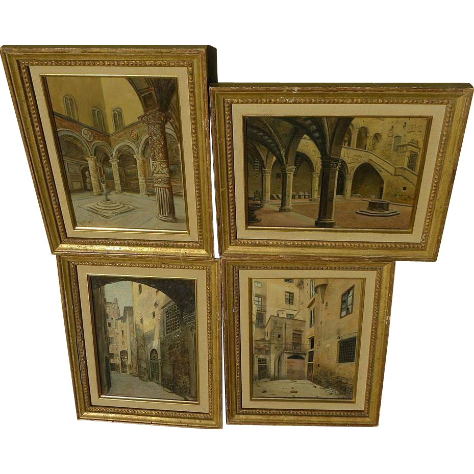 GIUSEPPE GARINEI (fl. 1880's) Italian art **FOUR** architectural and courtyard paintings by listed Italian artist