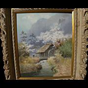 Japanese art impressionist spring landscape painting signed KAMIYA