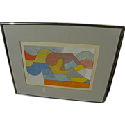 American abstract gouache painting signed and dated 1977