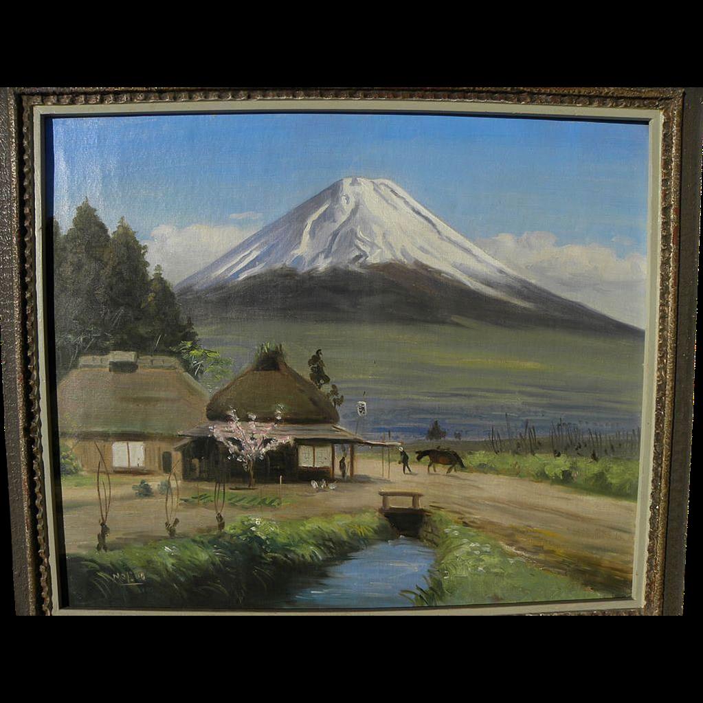 Japanese impressionist art Mt. Fuji landscape painting signed NOBUO