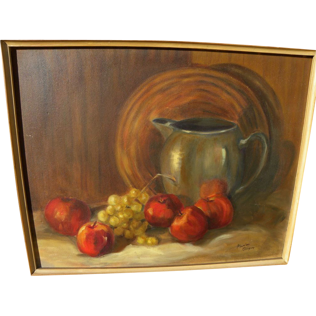 Fruit still life painting by California mid century artist