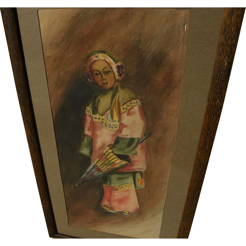 Early California watercolor painting of young Chinese girl in style of Esther Anna Hunt