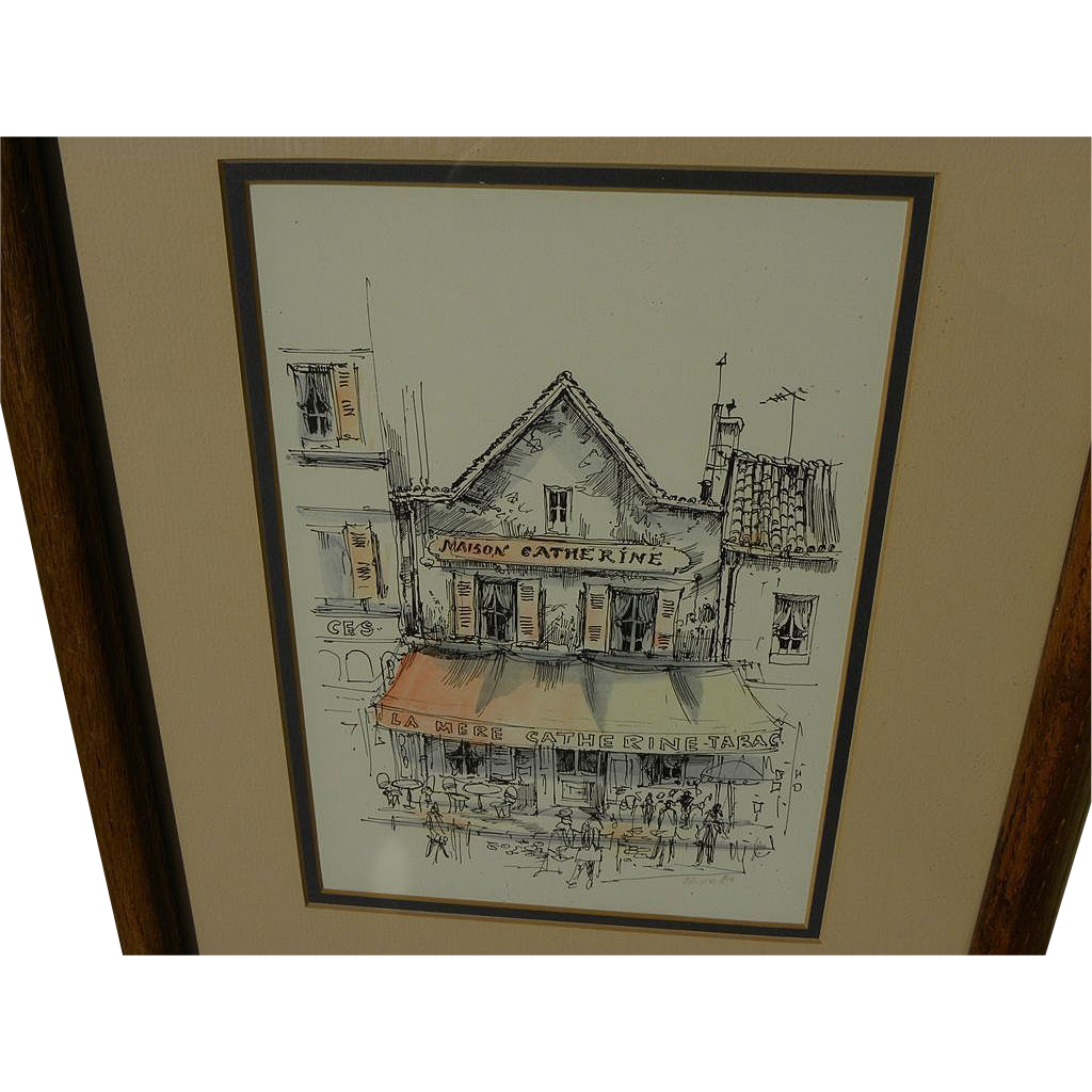 Ink and watercolor 1982 drawing of a Paris cafe by artist Brko
