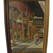 GYULA TORNAI (1861-1928) painting of Japanese temple by important Hungarian master artist
