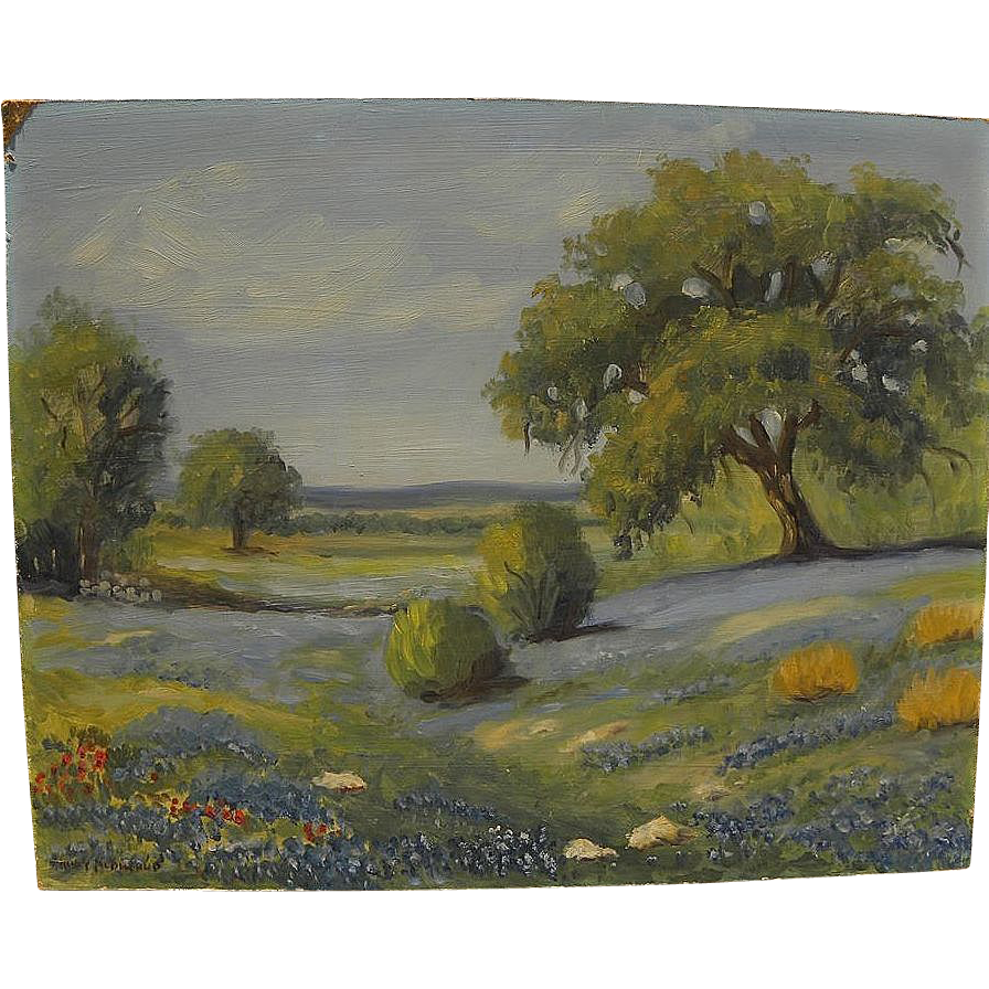 Texas art bluebonnet painting signed Nancy McDonald