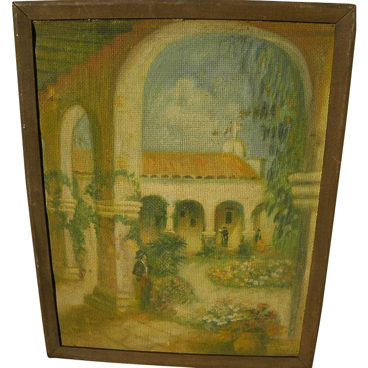 Californiana art circa 1935 painting of a mission of Golden California