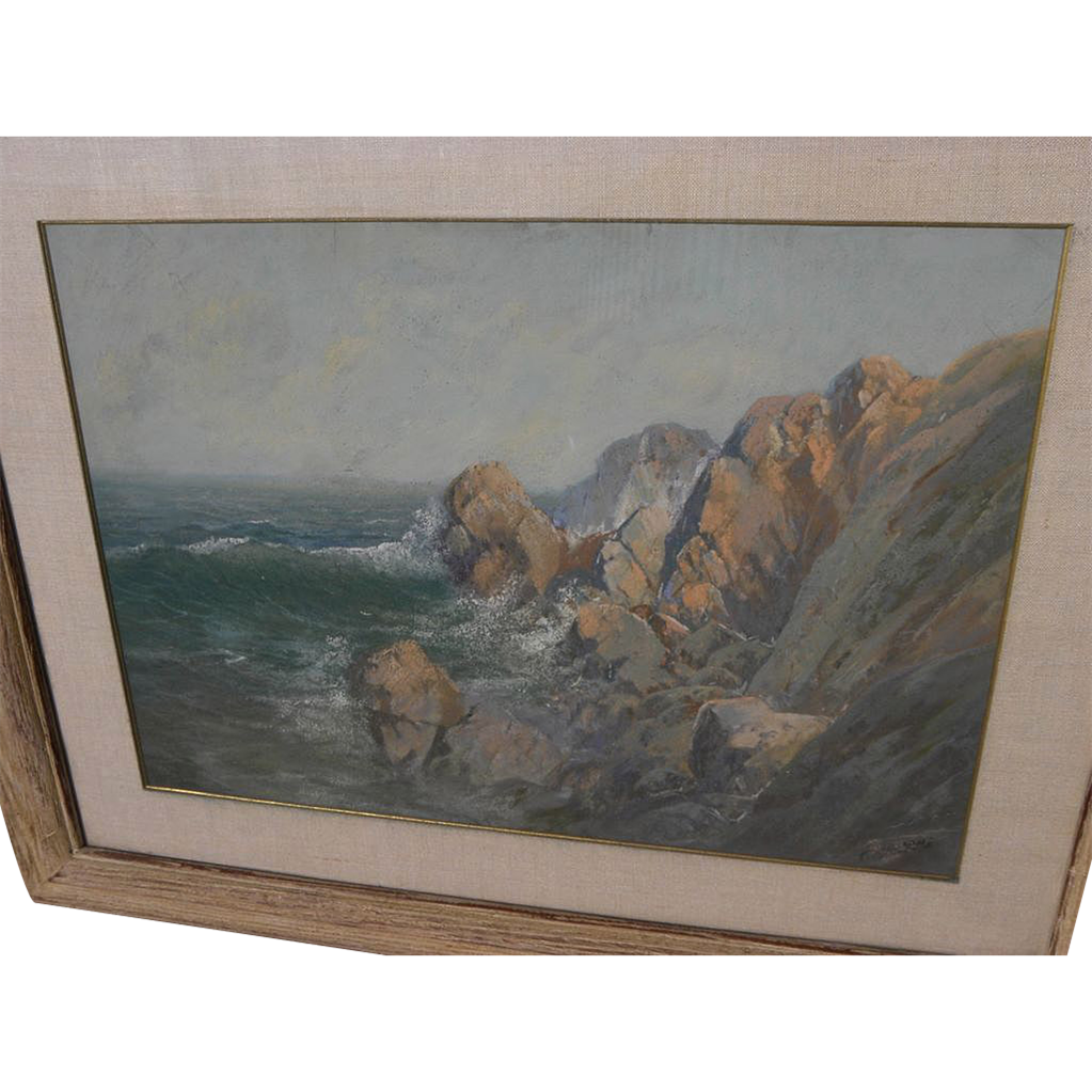 CARL SAMMONS (1883-1968) plein air California art pastel painting of coastal landscape