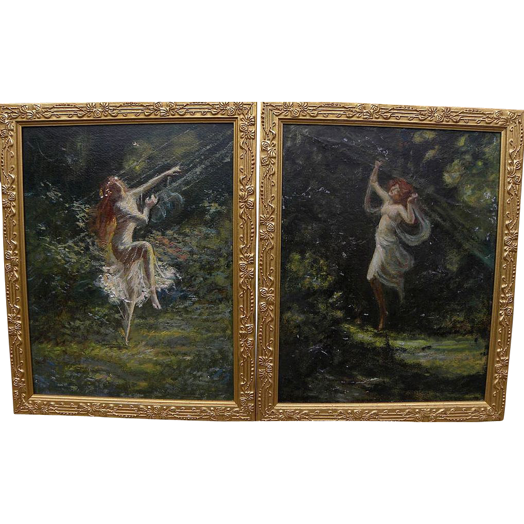 ROBERT C. WOODBERRY (1874-) **pair** impressionist paintings of dancing nymphs