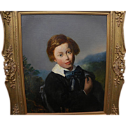 English oil portrait painting of identified sitter circa 1860