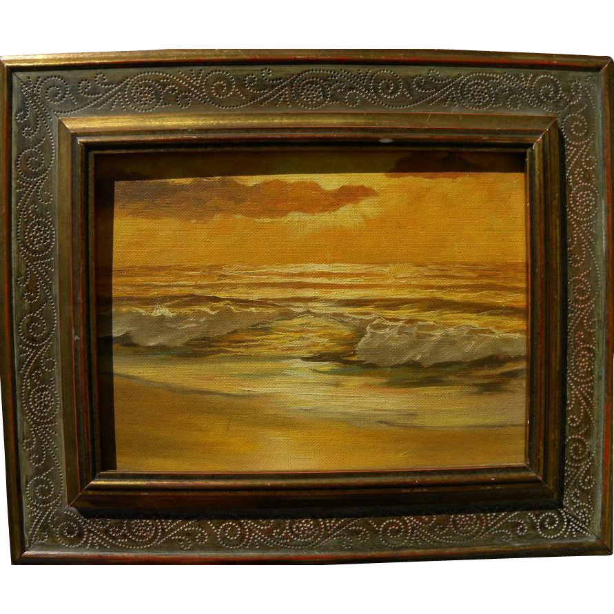 Seascape sunset oil painting style of Robert Wood or Robert Wee