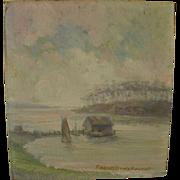 ROBERT BANKS FLINTOFT (1866-1946) small American impressionist coastal landscape possibly California