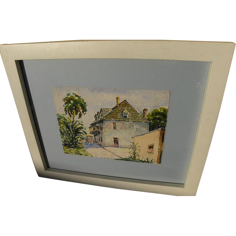 ROY C. CLARK (1889-1956) watercolor painting of old Saint Augustine Florida by listed artist