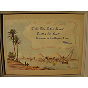 DAVID VASSILIOU (20th century) watercolor painting of the Nile and pyramids in Egypt by listed artist