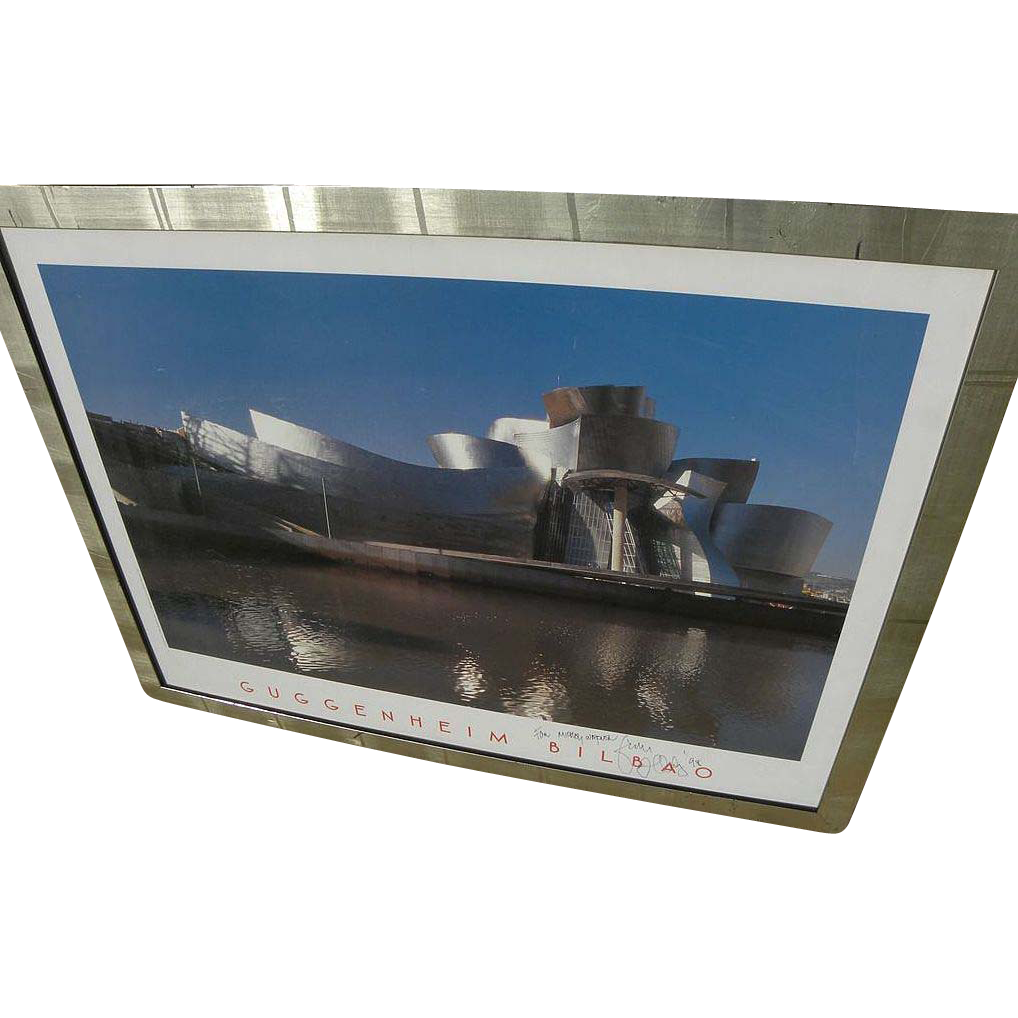 Architect FRANK GEHRY poster of Guggenheim Museum in Bilbao hand signed and dedicated