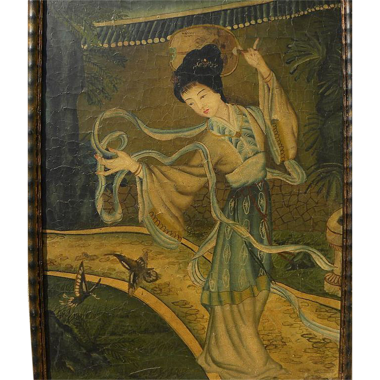 Chinese art contemporary hand painted oil on panel of a traditional lady