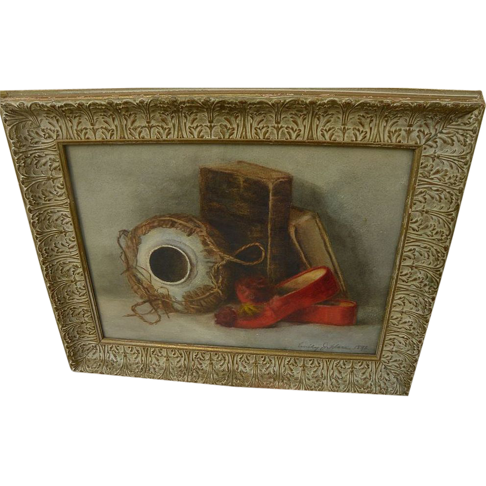American 1892 watercolor still life painting signed Emily J. Hare