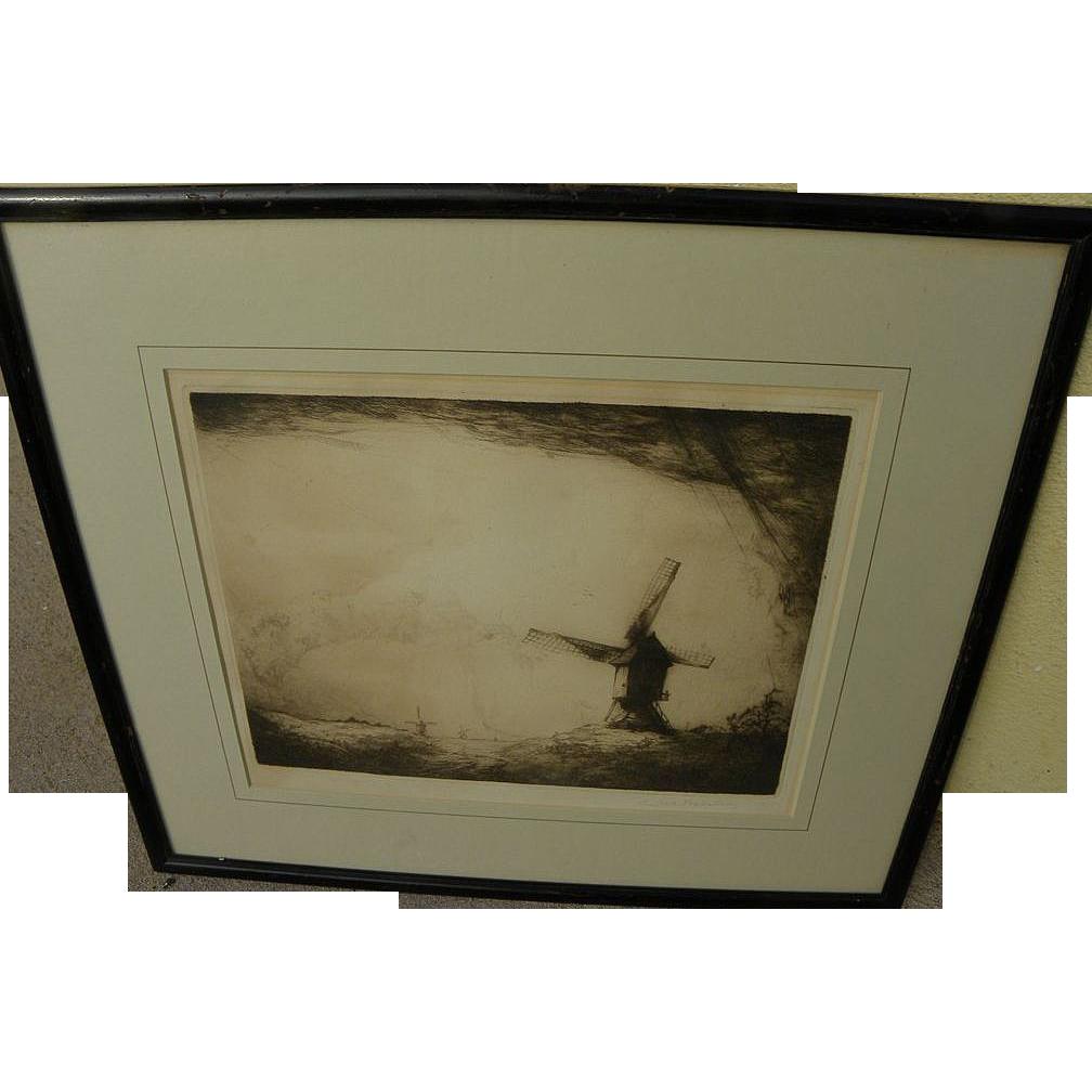 DIRK BAKSTEEN (1886-1971) etching of windmills in landscape by Dutch-Belgian artist