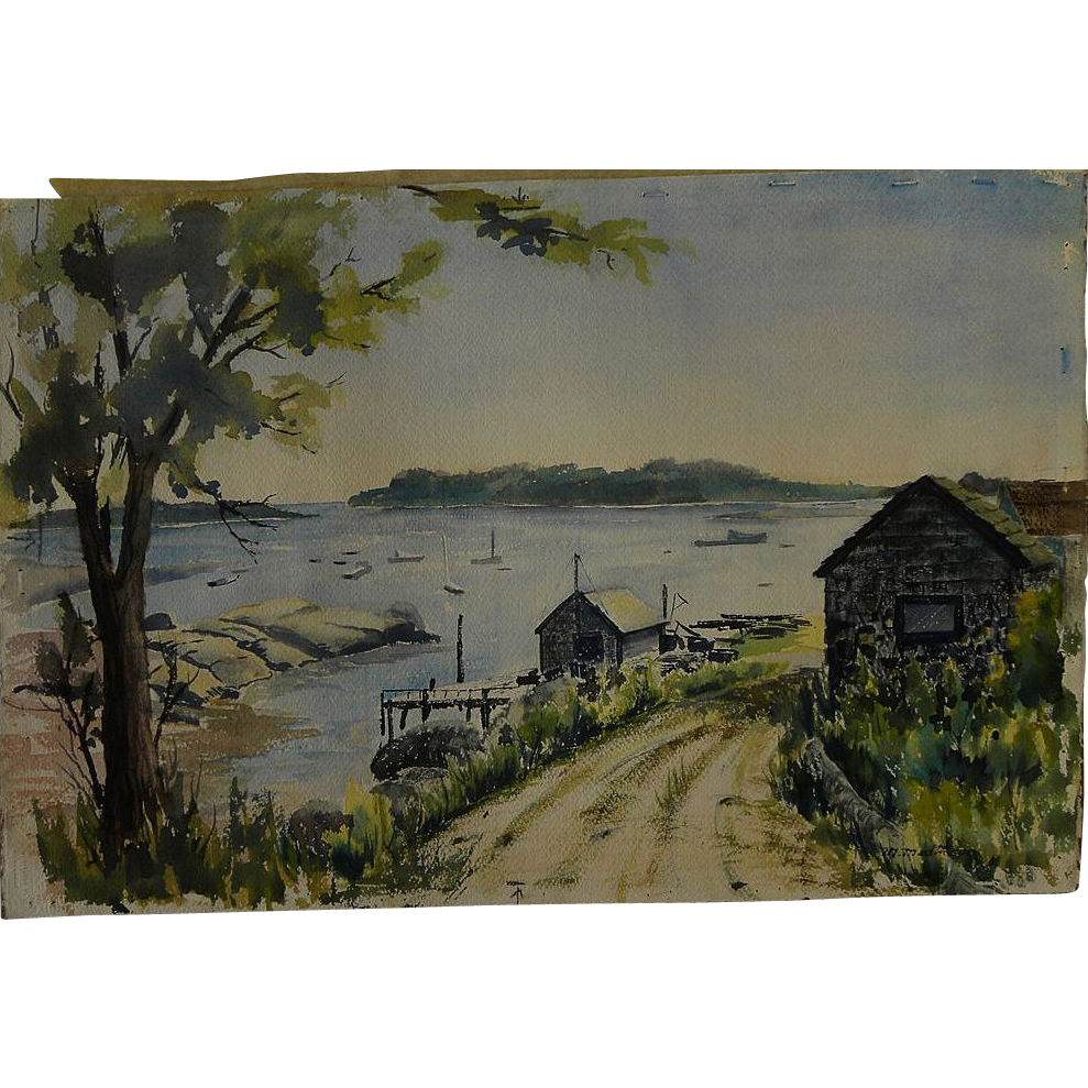Watercolor painting of New England harbor signed