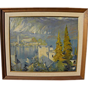 Vintage Impressionist landscape painting possibly Lake Como Italy signed G. PATTY