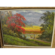 Indonesian art lush tropical landscape painting with figures signed M. DULLAH